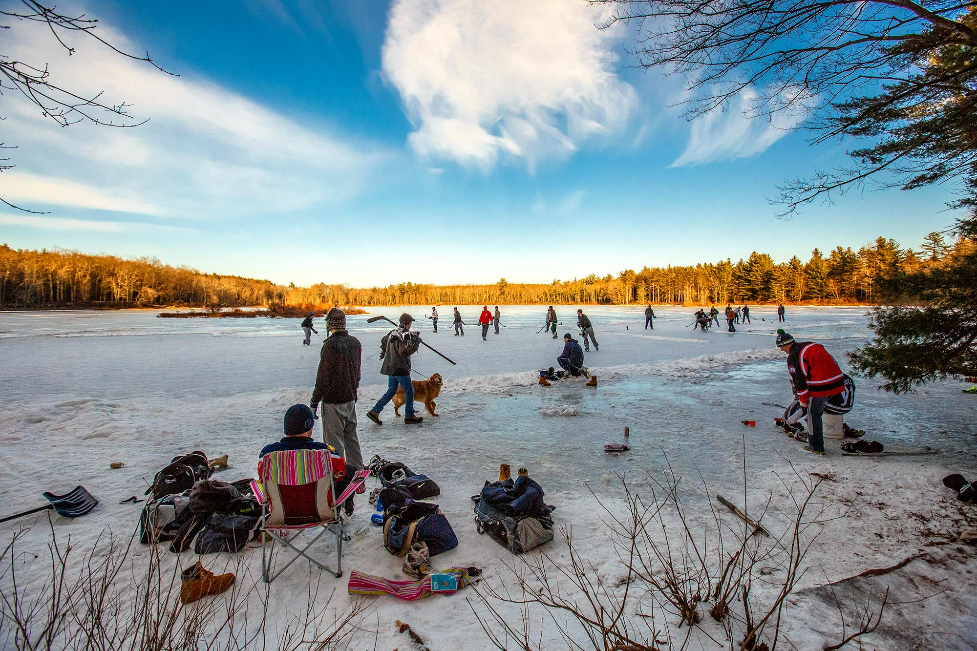 Pond Hockey, Great Pond, Simsbury, CT - 1/17/15